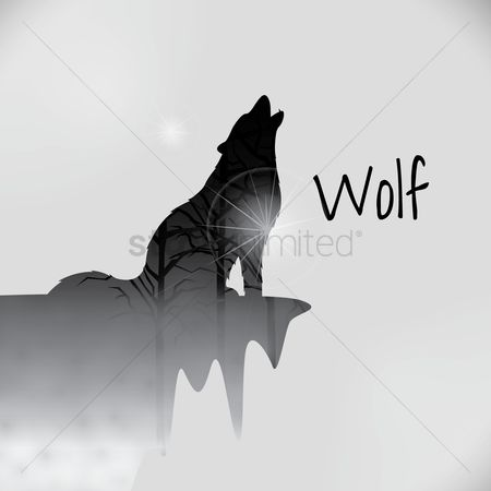 Concepts : Double exposure of wolf and trees