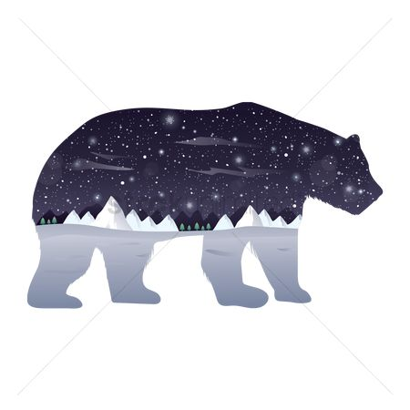 Water : Double exposure polar bear and winter night