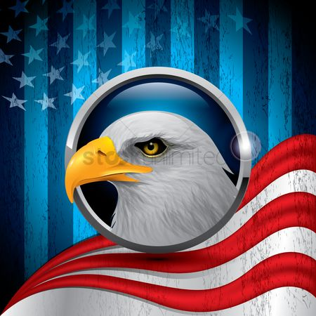 Animal : Eagle with american flag background