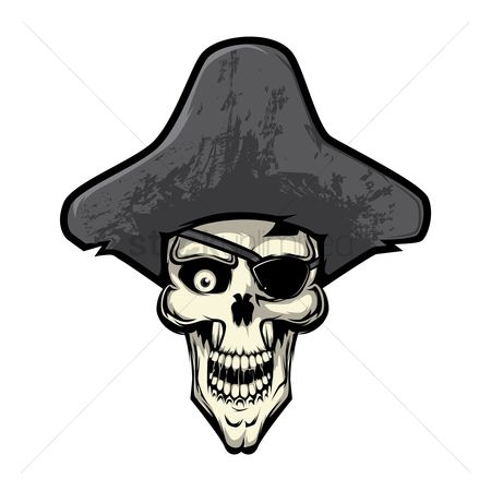 Vectors : Eye patched skull with pirate hat