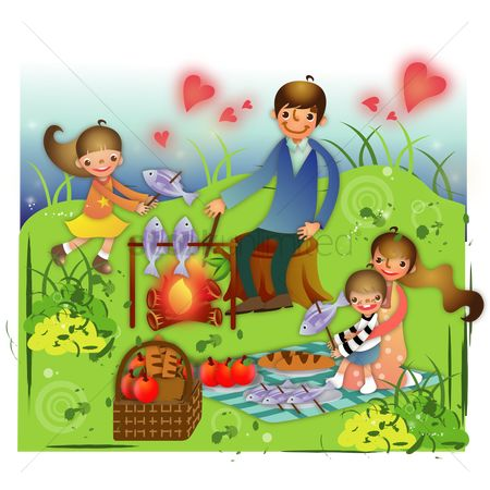 Vectors : Family on a picnic