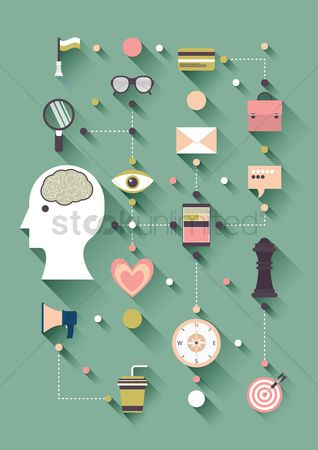 Brain : Flat design of creative thinking icons