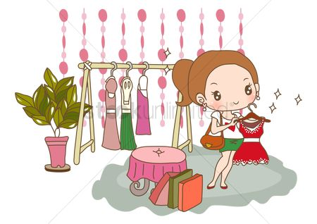 Interior : Girl shopping for new dress