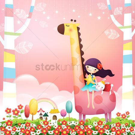 Girl : Girl with rabbit on a giraffe