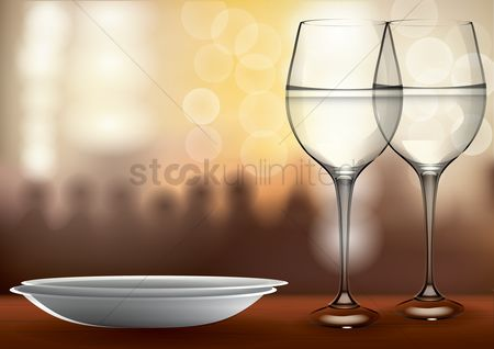 Celebration : Glasses with plate on defocused background