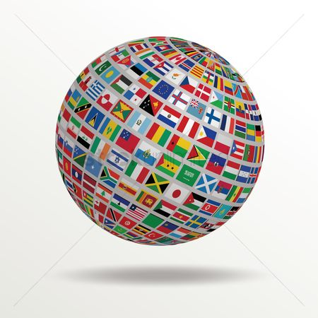 Background : Globe of flags