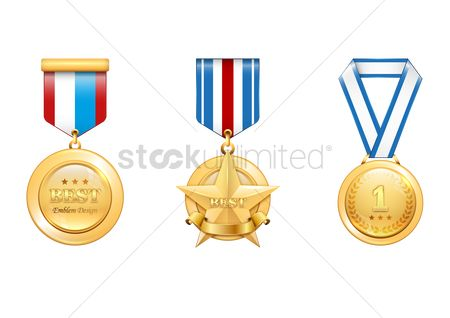 Ribbon : Gold medals set