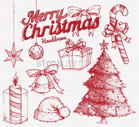 Ribbon : Hand drawn christmas design elements