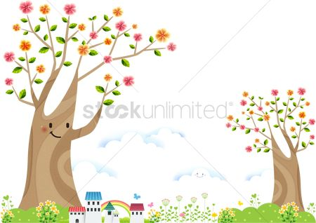 Environment : Houses under a big smiling tree
