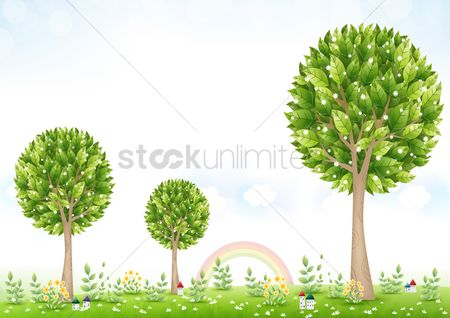 Environment : Houses under big trees