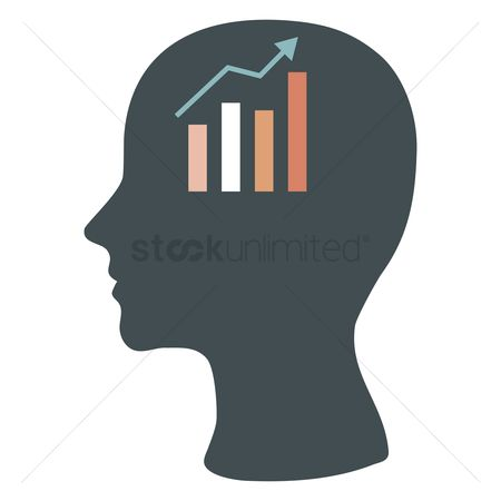 Brain : Human head silhouette with business growth chart