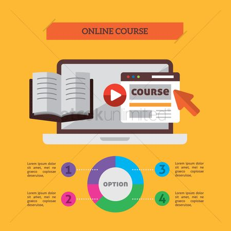 Banners : Infographic of online course