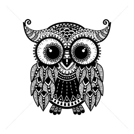 Birds : Intricate owl design