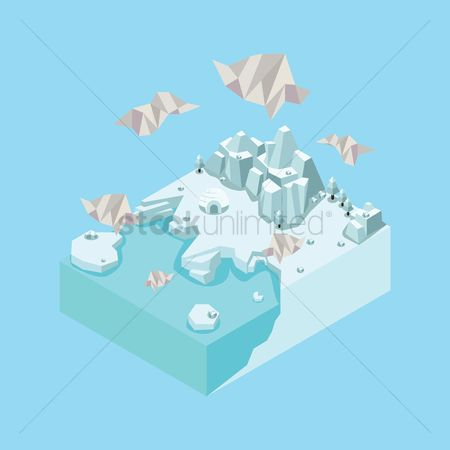Water : Isometric landscape with igloo
