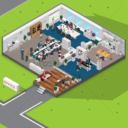 Business : Isometric office with people