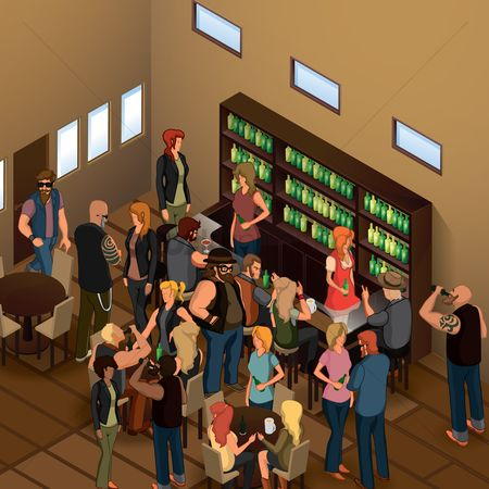 Interior : Isometric people in bar