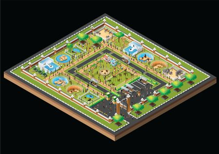 Girl : Isometric zoo park