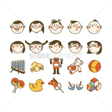 Children : Kids and toys icons