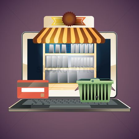 Shopping : Laptop with online shopping