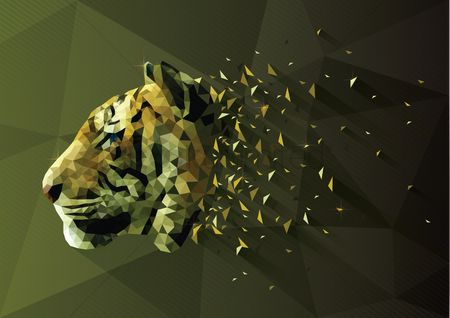 Animals Wildlife : Low poly of tiger