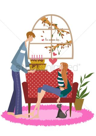 Romantic : Man holding a cake for a lady