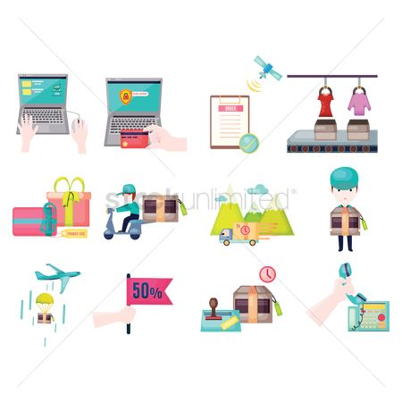 Shopping : Online shopping and shipping illustrations