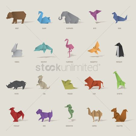 Animal : Origami bird and animal set