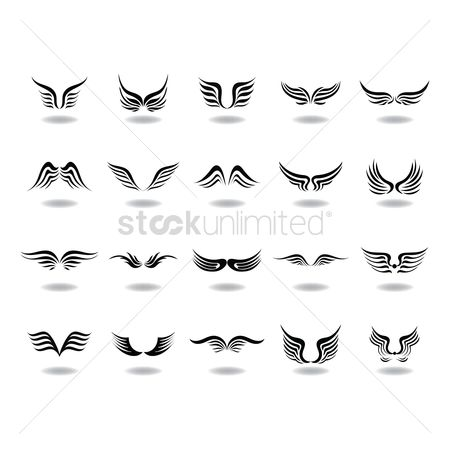 Vectors : Set of abstract angel wings