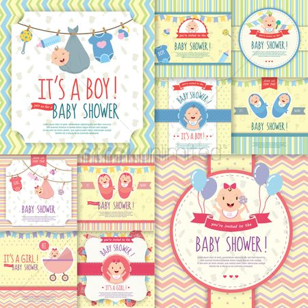 Vectors : Set of baby shower invitations