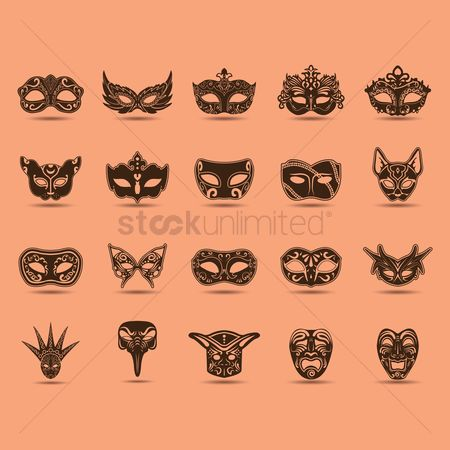 Celebration : Set of carnival masks