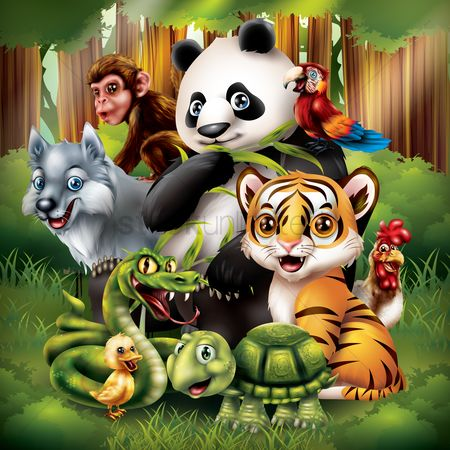 Animal : Set of cartoon animals posing