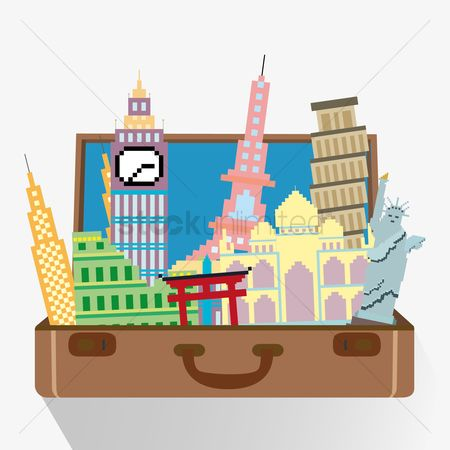 Buildings Landmarks : Set of travel icons