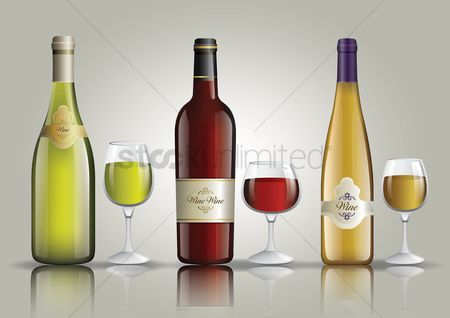 Celebration : Set of wine bottles and glasses