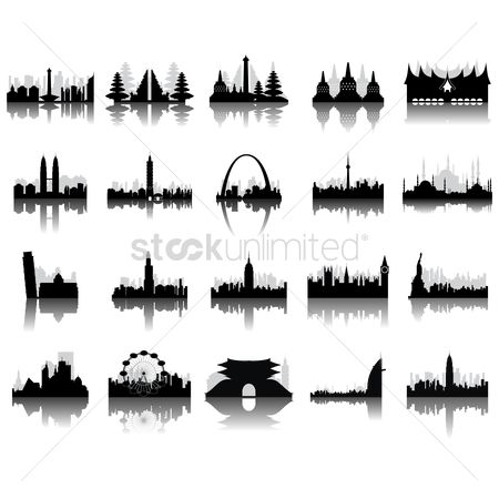 Buildings Landmarks : Silhouettes of famous monuments
