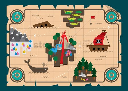 Animal : Treasure hunt map