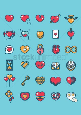 Romantic : Various heart icons