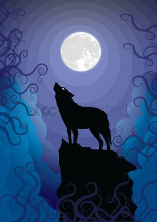 Vectors : Wolf howling at the moon