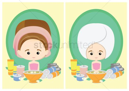 Spa : Woman with spa products