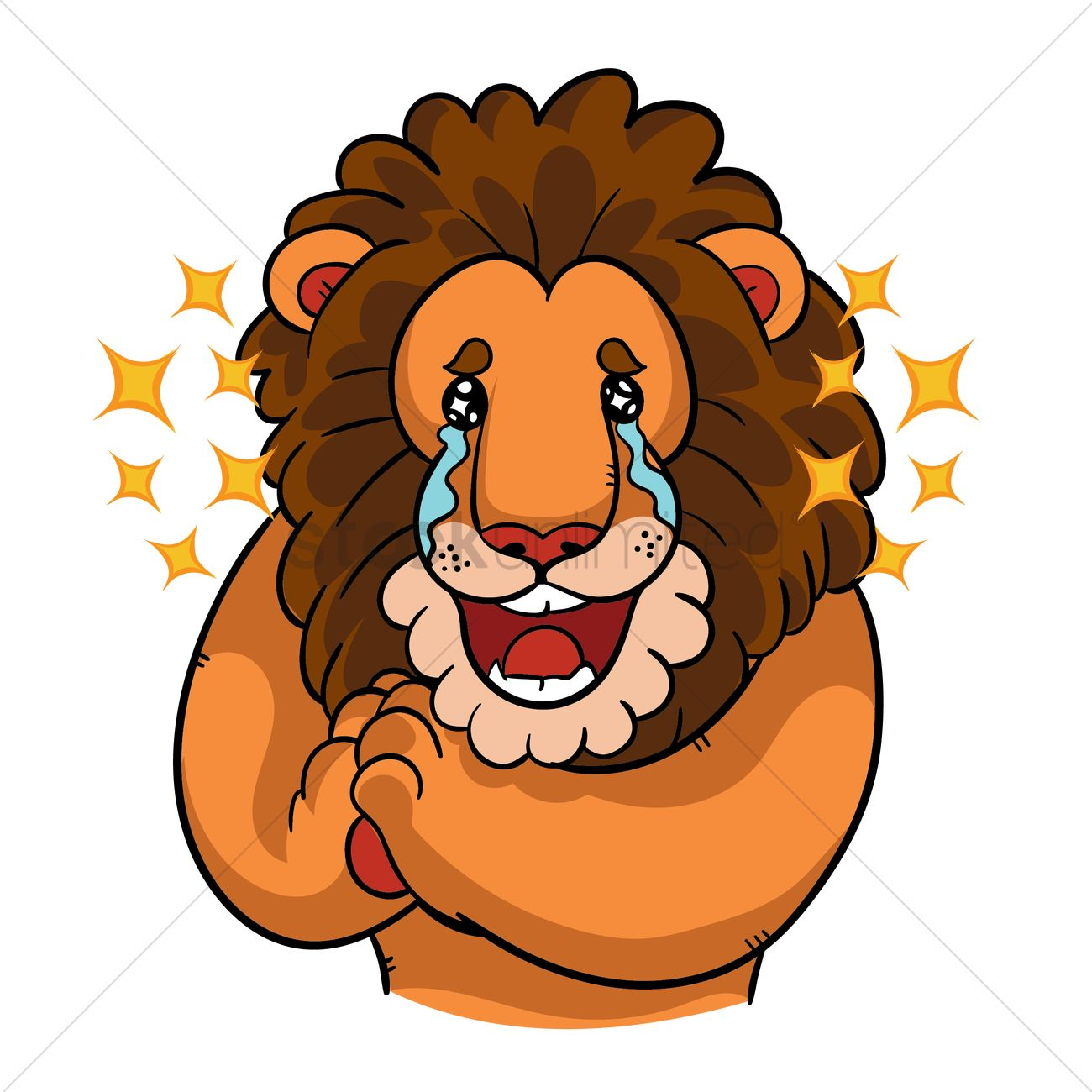 Cartoon Lion With Tears Of Joy Vector Image 1957589