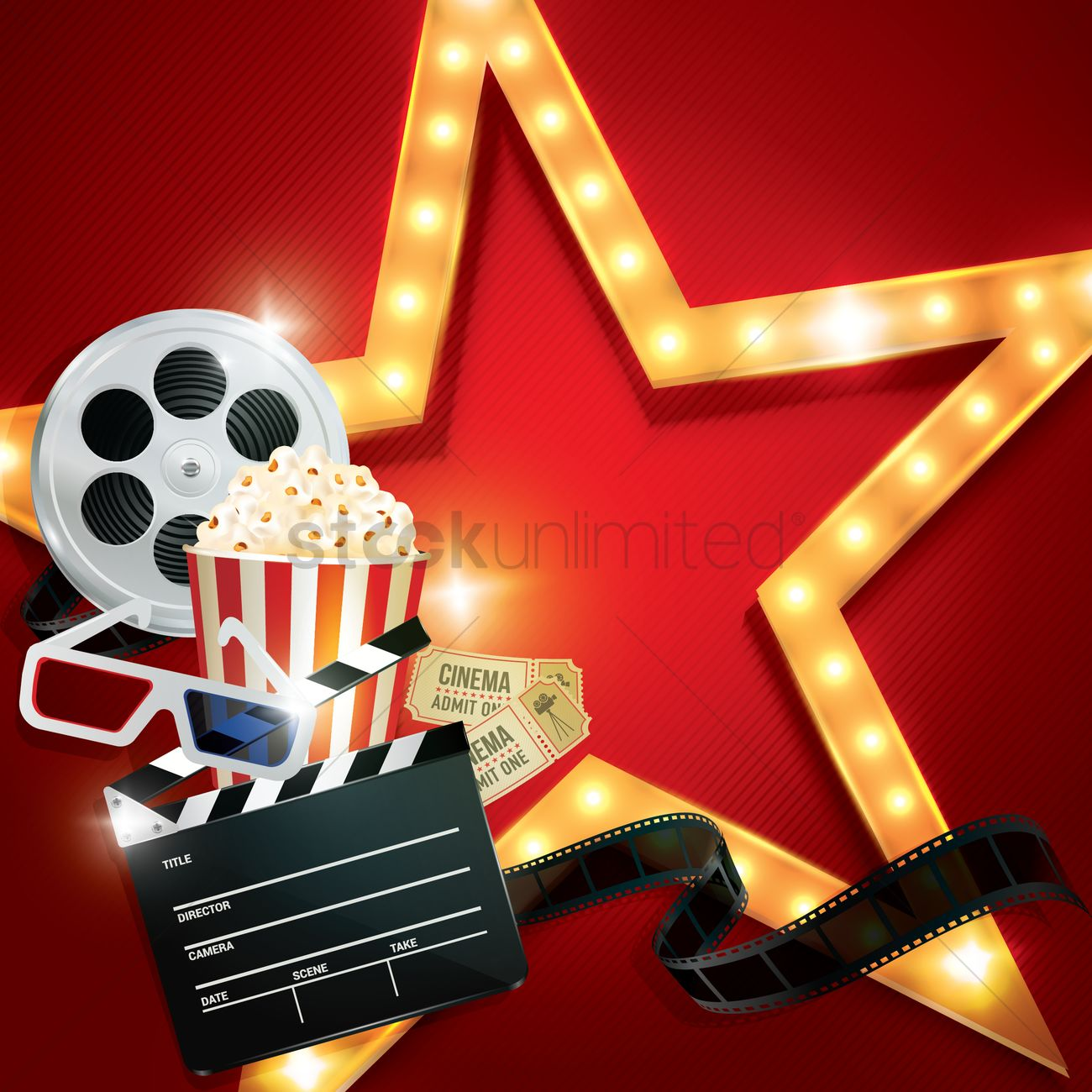 cinema background with movie objects vector image