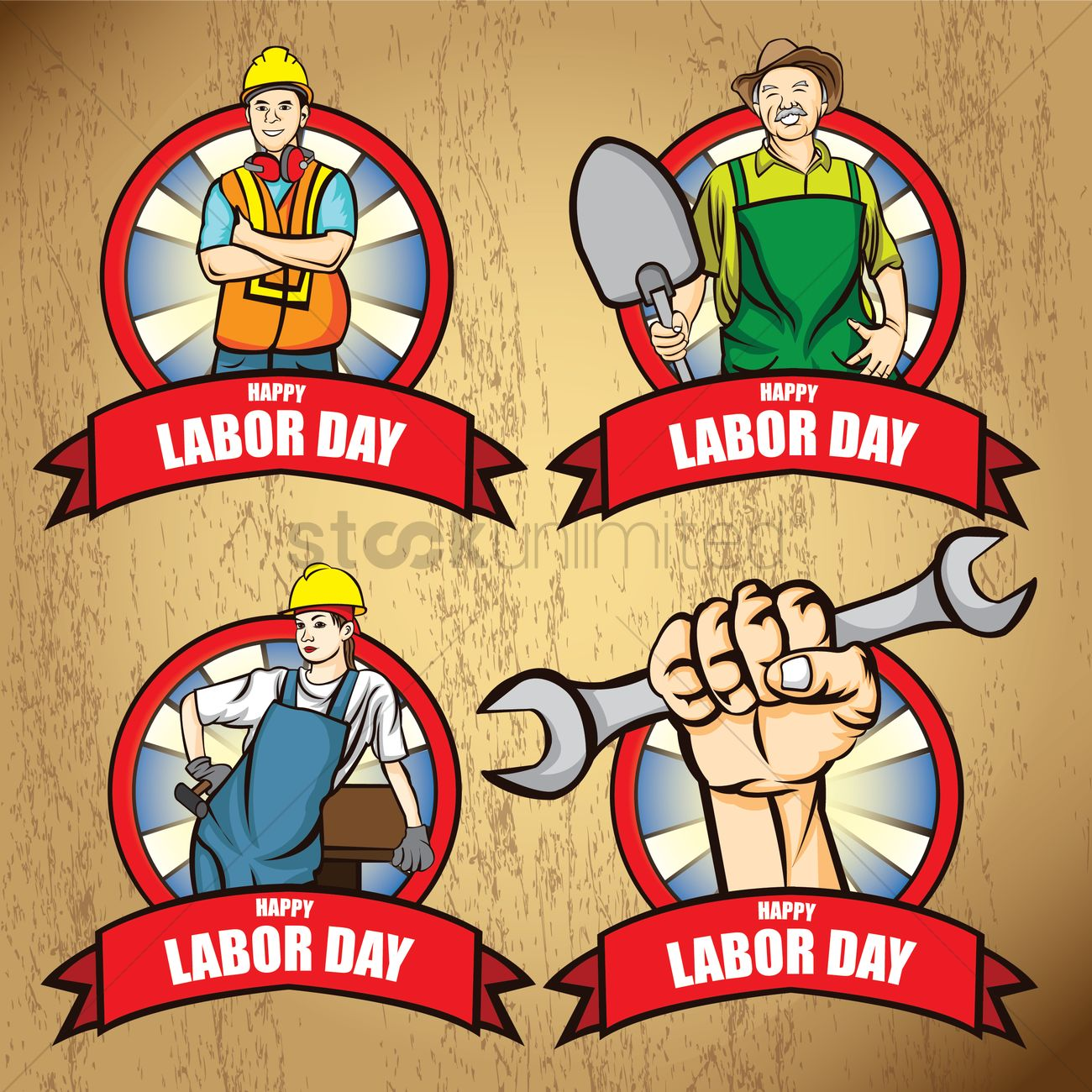 Collection of happy labor day posters Vector Image - 1534517 ...