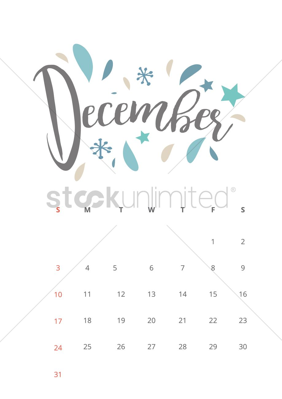 December 2017 calendar Vector Image - 1940341 | StockUnlimited