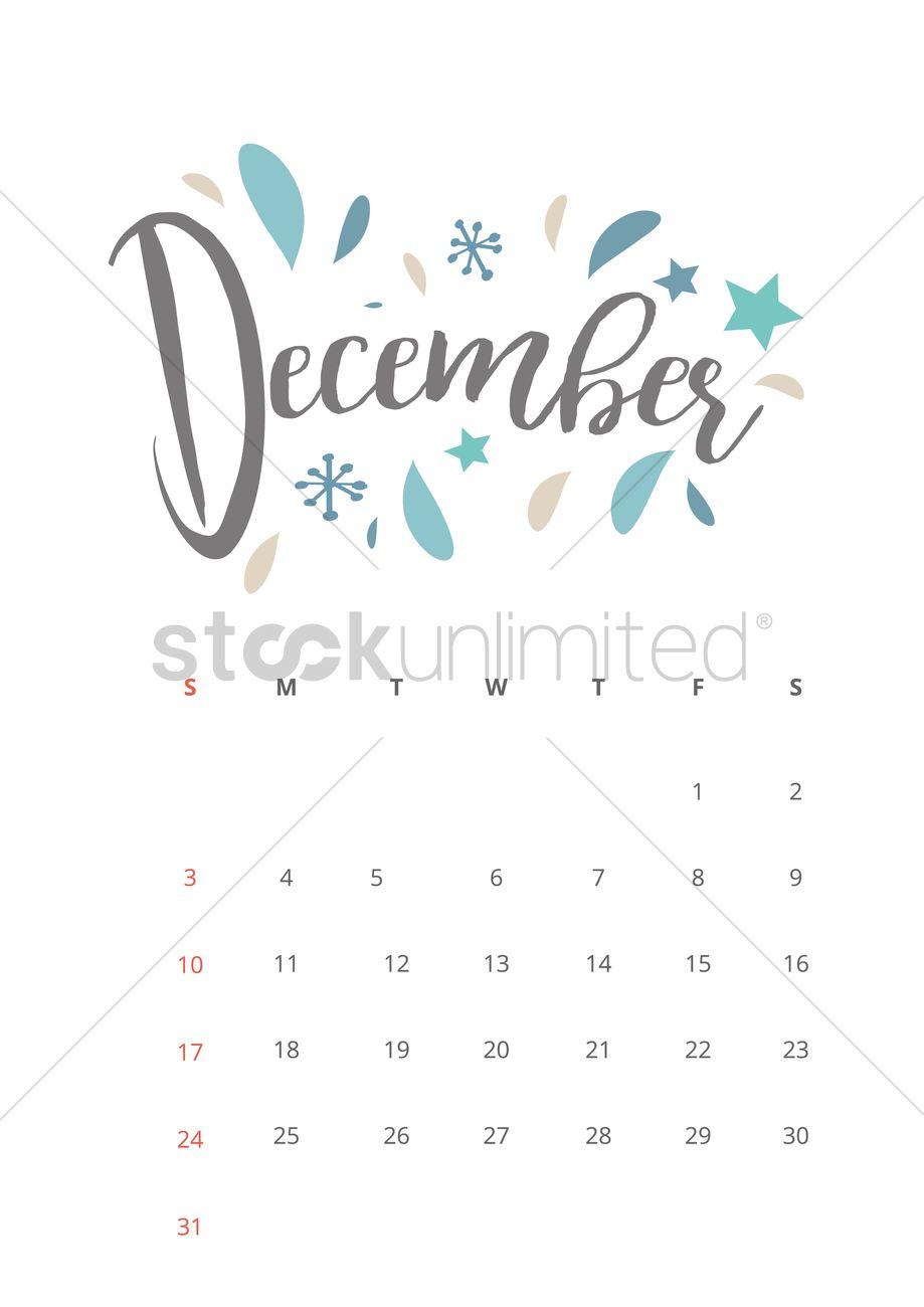 December 2017 calendar Vector Image - 1940341 | StockUnlimited