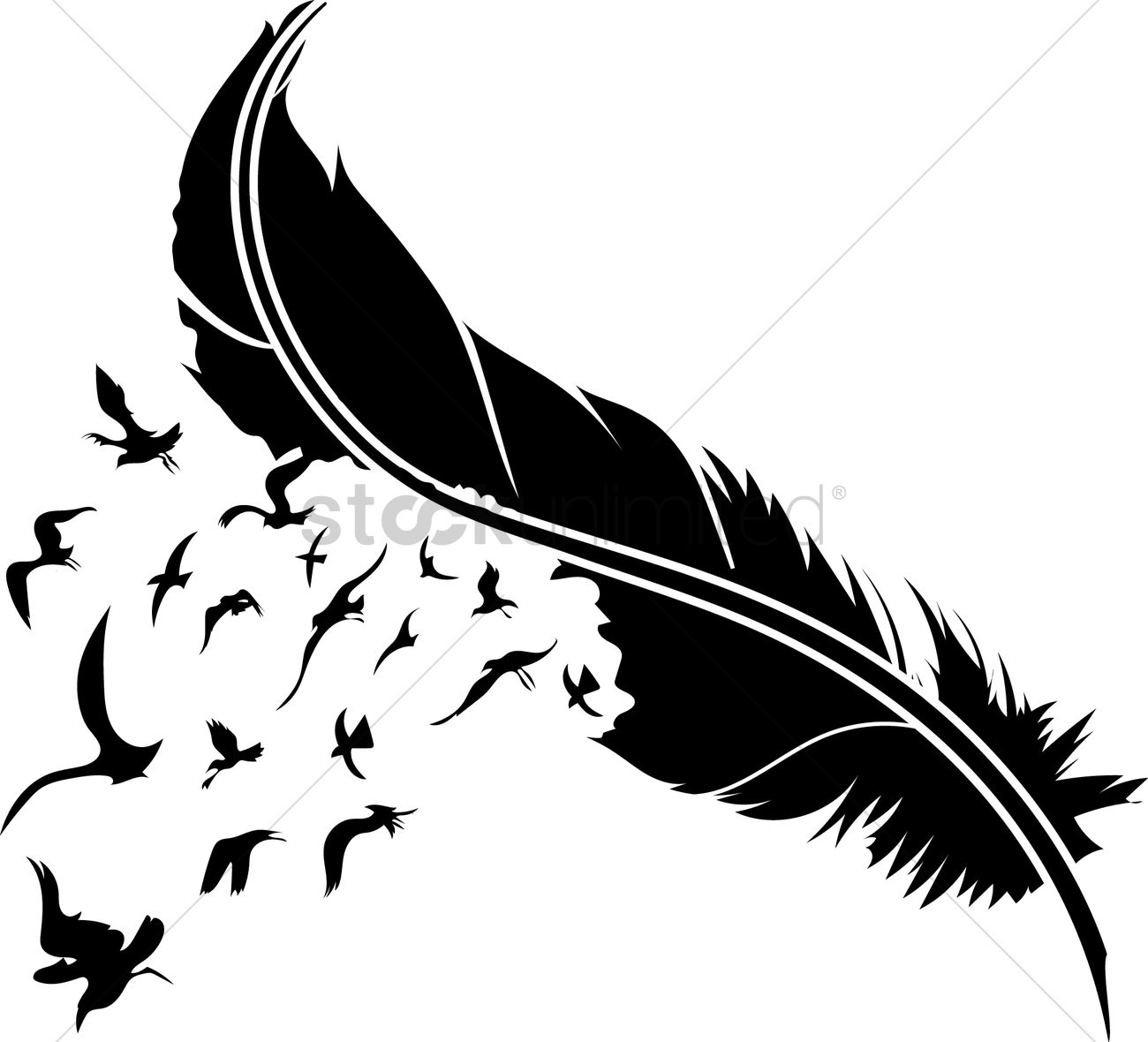 feather with birds vector image   1515001 stockunlimited