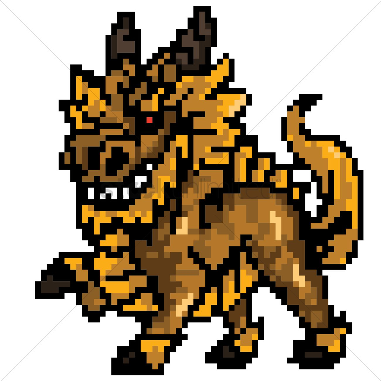 Pixel Art Mythical Dragon Vector Image 1959437