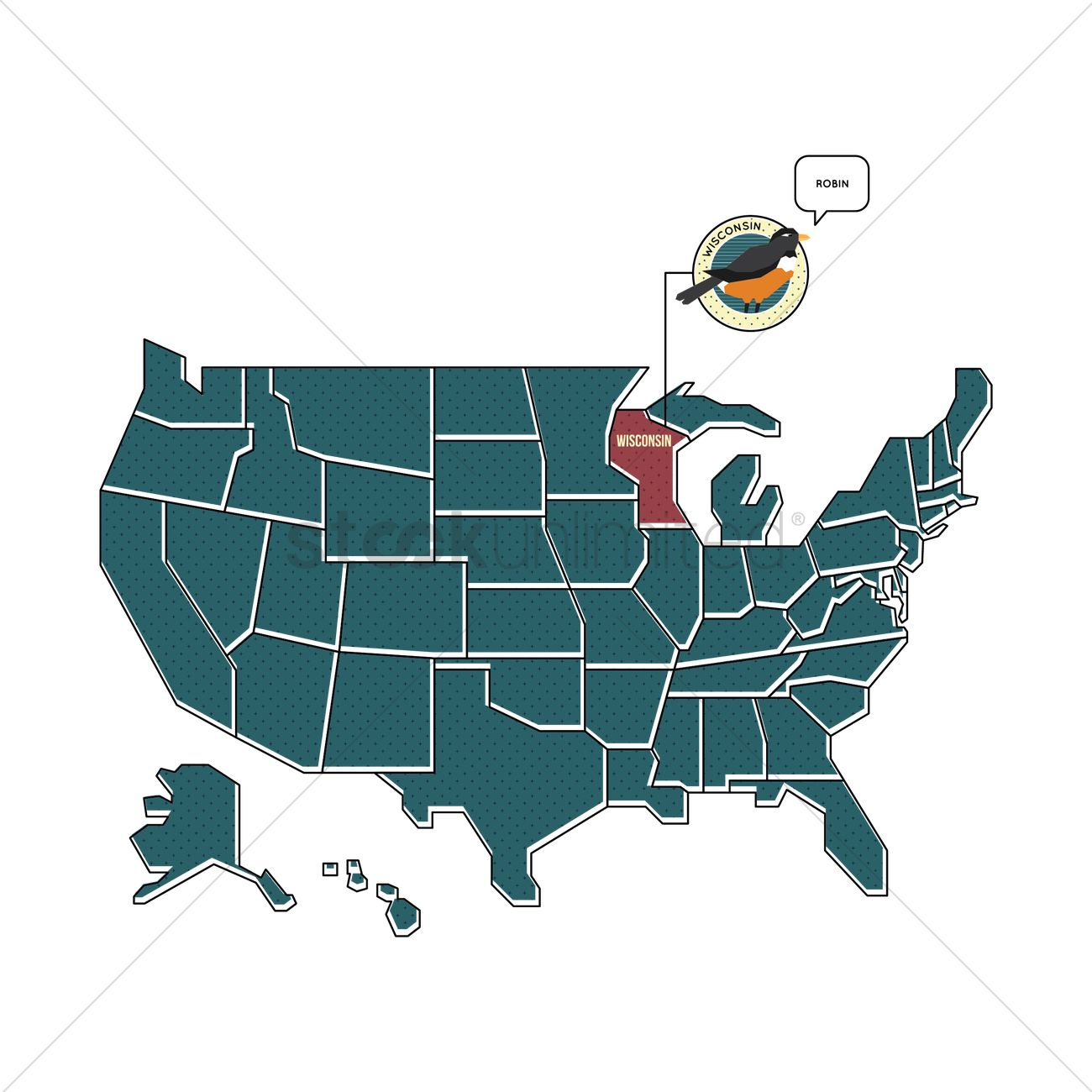 Us Map With Wisconsin State Bird Vector Image - Wisconsin state map of us