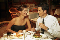 A couple having dinner in a restaurant