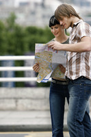 A lost couple looking at a map