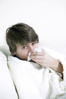 A man down with flu