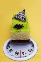 A piece of cake on a weighing scale